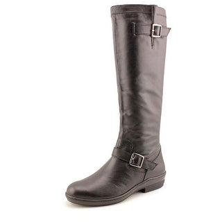 David Tate Dorthy Women SS Round Toe Leather Black Knee High Boot