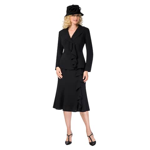 Giovanna Signature Women's 2-pc Machine Washable Ruffled Jkt & Flare Skirt Suit