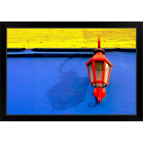 """""""A red streetlamp on a blue and yellow wall."""" Black Framed Print"""