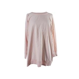 Lauren Ralph Lauren Plus Size Pale Rose Twill-Front Sweater 1X