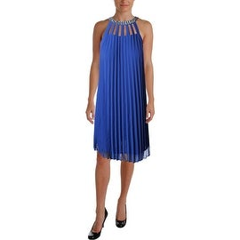 Laundry by Shelli Segal Womens Jeweled Shutter Pleat Cocktail Dress
