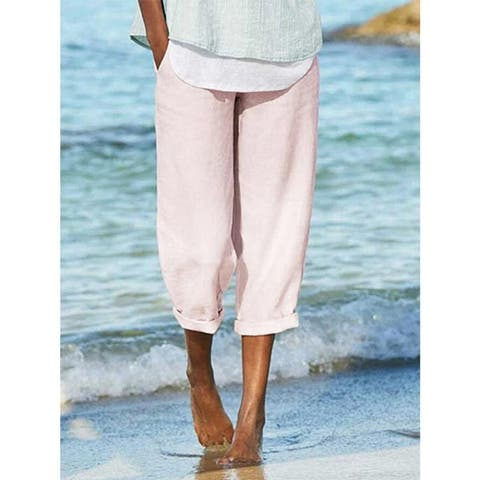 Summer Linen Casual Solid Pants
