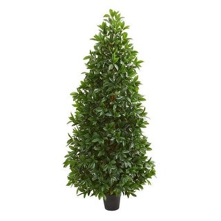 Nearly Natural 5' Bay Leaf Cone Topiary Artificial Faux Tree UV Resistant (Indoor/Outdoor)