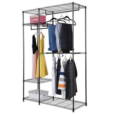 4-Tiers Clothing Storage Rack Closet Organizer Shelf Black