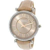 Fossil Women's Carlie  Silver Leather Japanese Quartz Fashion Watch