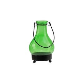 "6.5"" Transparent Green India Glass Bottle Tea Light Candle Lantern Decoration"