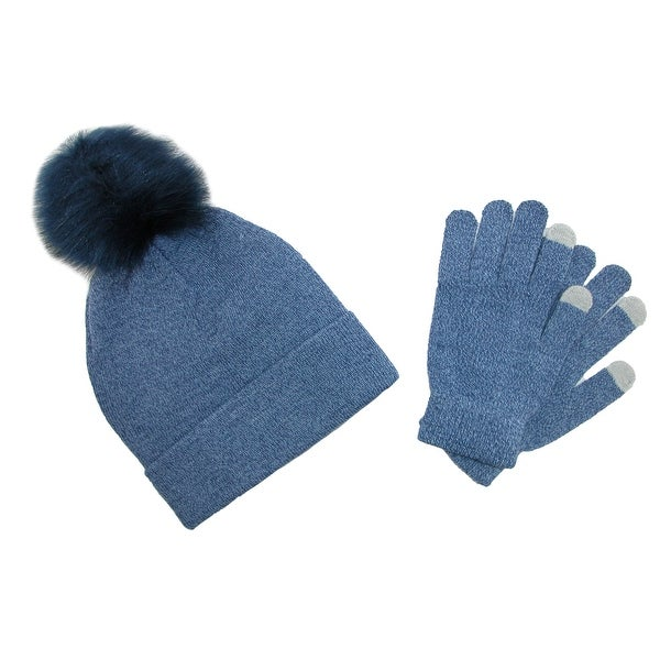 c37d15fbdc319f Shop CTM® Women's Marled Beanie with Pom and Text Gloves Set - One ...
