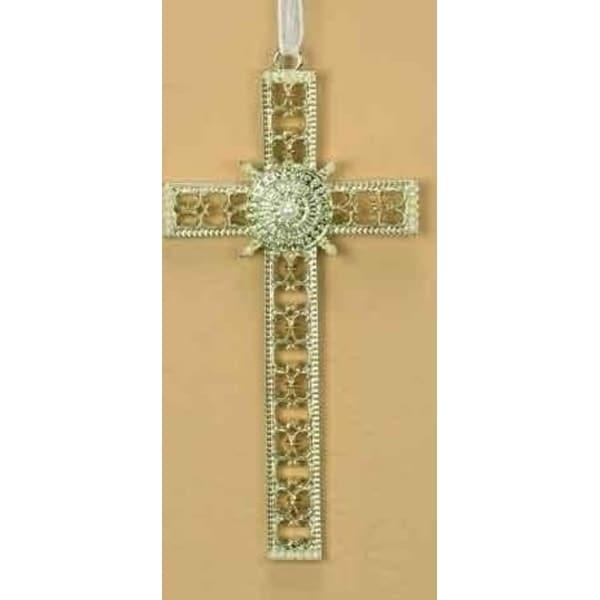 "5.25"" Christmas Joy Pearl Decorative Cross Ornament - GOLD"