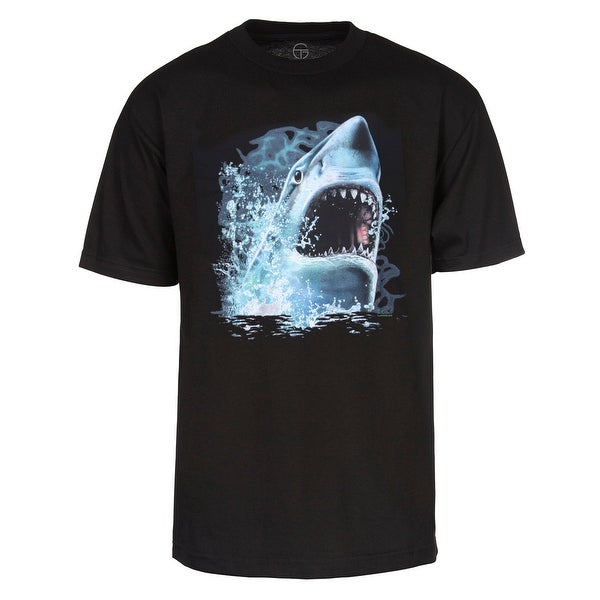 Men's Great White Shark Bite Custom T-Shirt - Black