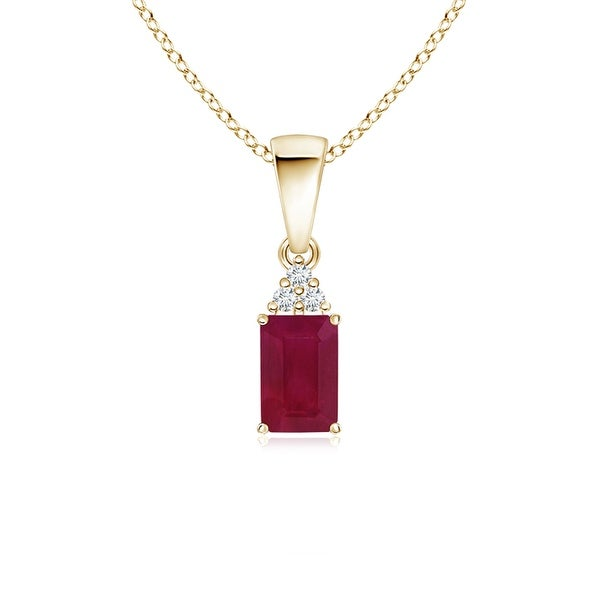 Angara Prong Set Emerald Cut Ruby Pendant with Diamond - Red/White