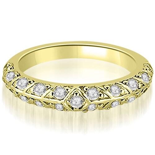 0.63 cttw. 14K Yellow Gold Antique Round Cut Diamond Wedding Band