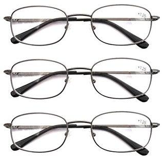 Eyekepper Gunmental Spring Hinged Reading Glasses 3 Pair Metal Readers+1.5