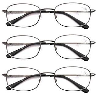 Eyekepper Gunmental Spring Hinged Reading Glasses 3 Pair Metal Readers+2.5
