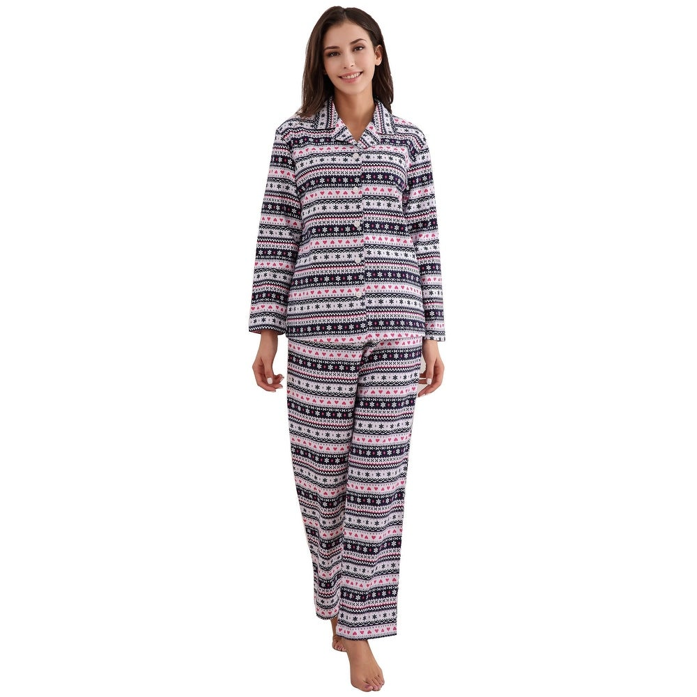 Richie House Womens Cotton Printed Flannel Two-piece Set Pajama