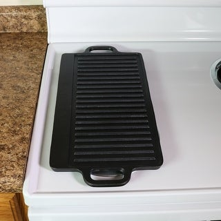 Sunnydaze Cast Iron Grill/Griddle, Pre-Seasoned, 20-Inch