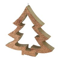 """7"""" Copper Glittered Cutout Tree Christmas Ornament - brown"""