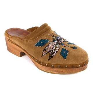 Roberto Cavalli Mens Brown Suede Beaded Dragonfly Studded Clogs