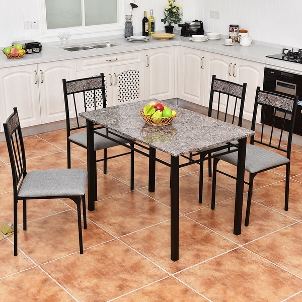 Costway 5 Piece Faux Marble Dining Set Table And 4 Chairs Kitchen Breakfast  Furniture   Free Shipping Today   Overstock.com   22277342