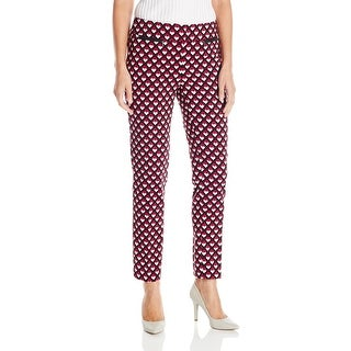 Nine West NEW Pink Black Womens Size 6X29 Printed Front-Tab Dress Pants