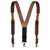 3 D Belt Company Men's Leather Floral Suspenders with Metal Swivel Hook Ends - One size