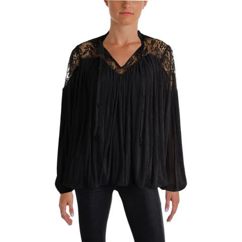 French Connection Womens Lassia Peasant Top Bishop Sleeves Lace