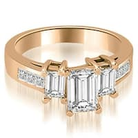 1.50 cttw. 14K Rose Gold Channel Princess and EmeraldDiamond Engagement Ring