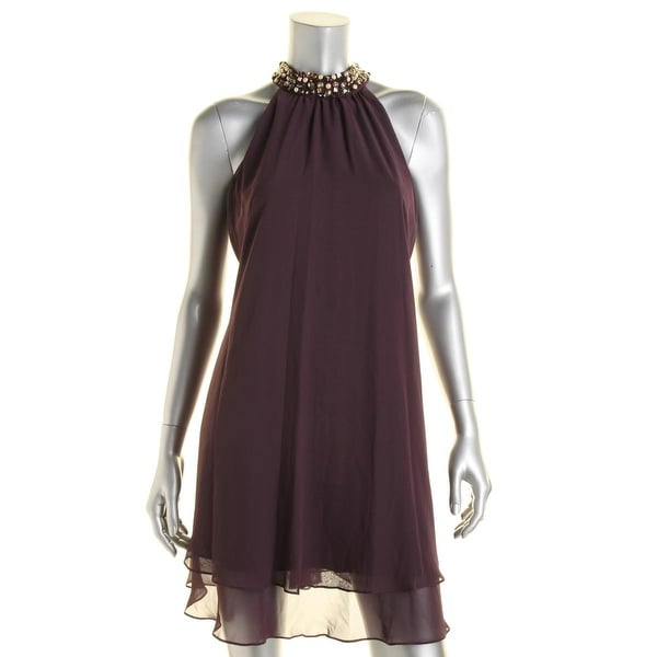 Eliza J Womens Cocktail Dress Halter Embellished