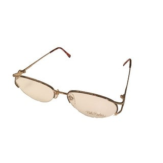 Bob Mackie Womens Opthalmic Eyeglass Teardrop Rimless Metal BM 746 Gold Tortoise - Medium