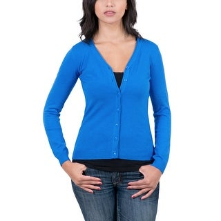 Real Cashmere Cobalt Blue V-Neck Cardigan Womens Sweater