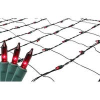 4' x 6' Red Mini Incandescent Christmas Net Lights - Green Wire