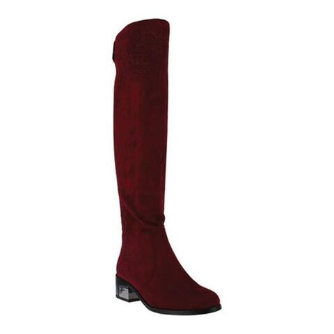 Azura Women's Jani Over The Knee Boot Bordeaux Microsuede