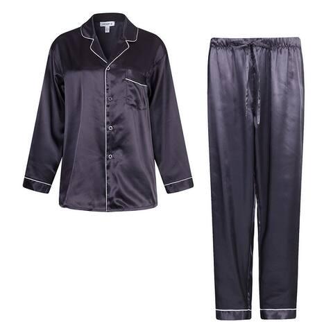 Richie House Men's Satin Two-piece Pajama Set