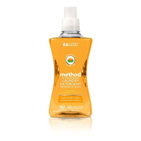 Method 01490 4X Concentrated Laundry Detergent, Ginger Mango, 66 Loads, 53.5 Oz