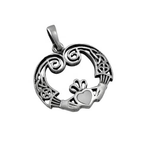 Sterling Silver Irish Claddagh Pendant / Charm - One Size