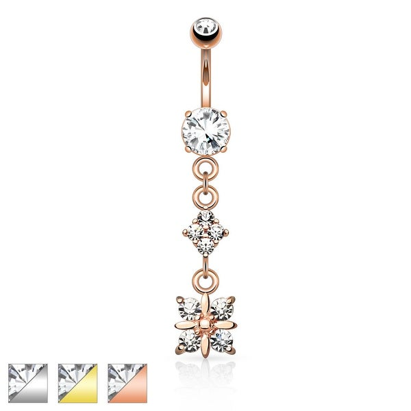Paved Diamond with 4 Quadrant CZ Drop Dangle Navel Ring