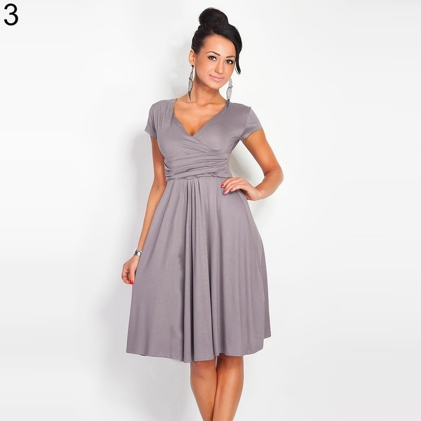 Pregnant Women Summer Comfy Maternity Dress Casual Loose V-Neck Pleated Dress A