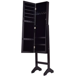 Costway Black Mirrored Jewelry Cabinet Armoire New