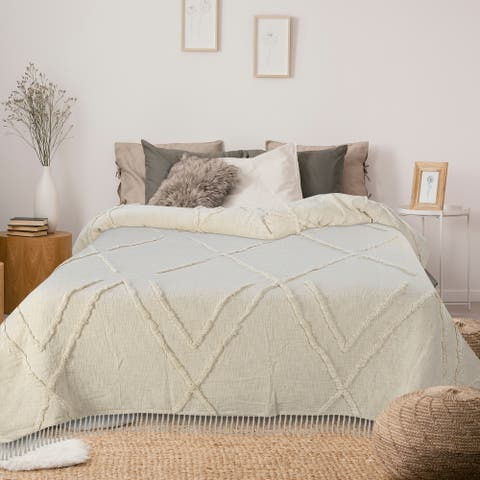 Solid Ivory Dazzling Diamond Coverlet