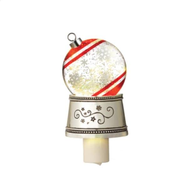 "7"" Christmas Traditions Snowflake Ball Ornament Glitterdome Night Light - WHITE"