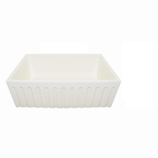 """Single Bowl 30"""" Apron Front Farmhouse, Farm Fluted Fireclay Kitchen Sink, White"""