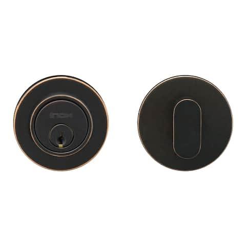 "INOX CD110B6 Single Cylinder Grade 2 Deadbolt with CD Rose and 2-3/8"" Backset"