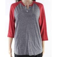 Alternative Gray Womens Size Medium M Baseball Henley Knit Top
