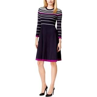 Jessica Howard Womens Petites Sweaterdress Striped Knit
