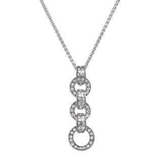 Van Kempen Art Deco Circle Drop Pendant with Swarovski Crystals in Sterling Silver - White