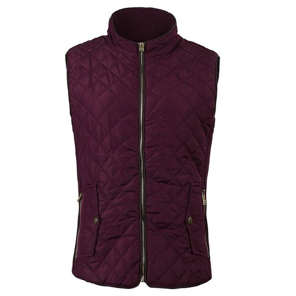 Fan Hang Red Quilted Full-Zip Women's Size Large L Vest Jacket