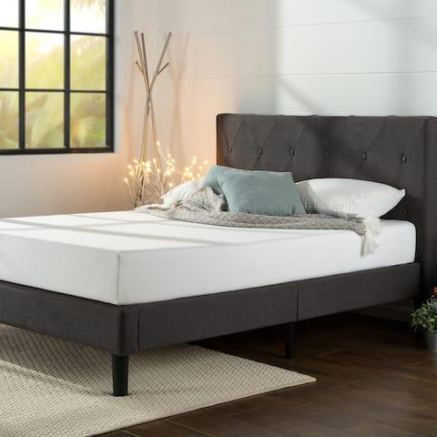 Priage by ZINUS Dark Grey Upholstered Diamond Stitched Platform Bed Frame