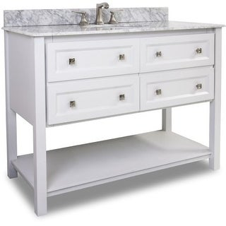 Elements VAN066-48-T-MW Adler Collection 48 Inch Wide Bathroom Vanity Cabinet with Counter Top and Sink (Faucet Not Included)