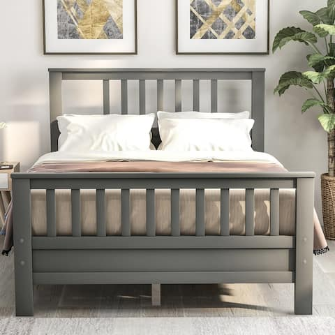 Full Size Wood platform bed with headboard and footboard