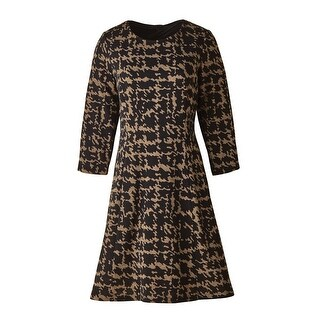 Women's Swing Dress - Abstract Houndstooth Print Black & Brown - Plus Size (Option: 24w)|https://ak1.ostkcdn.com/images/products/is/images/direct/de246514ce7c40f29b16f655b0d4e977a75aac1f/Women%27s-Swing-Dress---Abstract-Houndstooth-Print-Black-%26-Brown---Plus-Size.jpg?_ostk_perf_=percv&impolicy=medium
