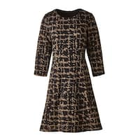 Women's Swing Dress - Abstract Houndstooth Print Black & Brown - Plus Size